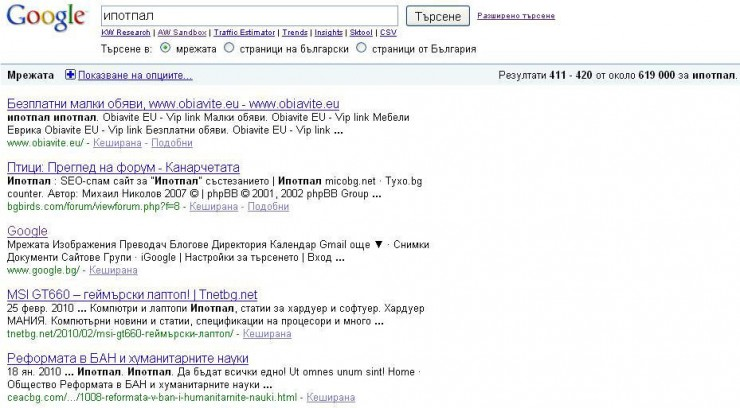 Google.bg на 42-ра страница в класирането за Ипотпал